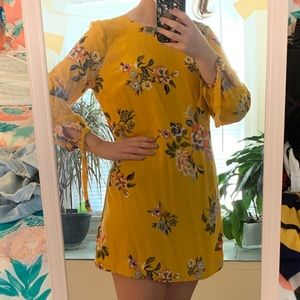 Yellow long-sleeve floral dress